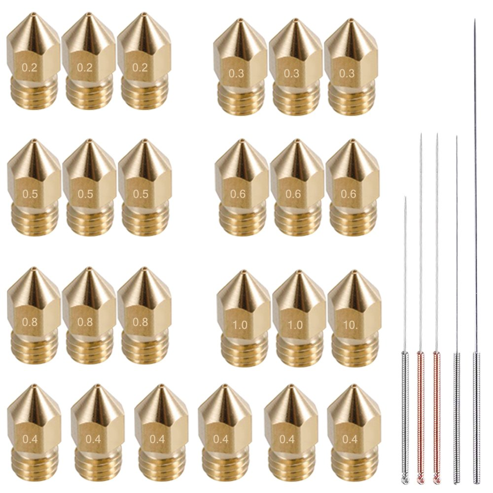 AFUNTA 24 Pieces M6 3D Printer Extruder Brass Nozzle Print Heads for 1.75mm MK8 Makerbot, ANET A8 and CR-10 Printer, 7 Sizes (0.2/0.3/0.4,/0.5/0.6/0.8/1.0mm) + 5 Sizes Nozzle Cleaning Needles AF-printer_nozzle