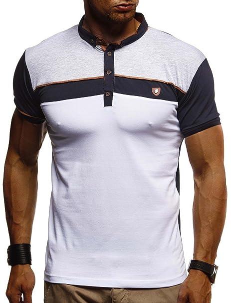 size 40 f1183 3952e Leif Nelson Herren Sommer T-Shirt Polo Kragen Slim Fit Baumwolle-Anteil  Basic schwarzes Männer Poloshirts Longsleeve-Sweatshirt Kurzarm Weißes ...