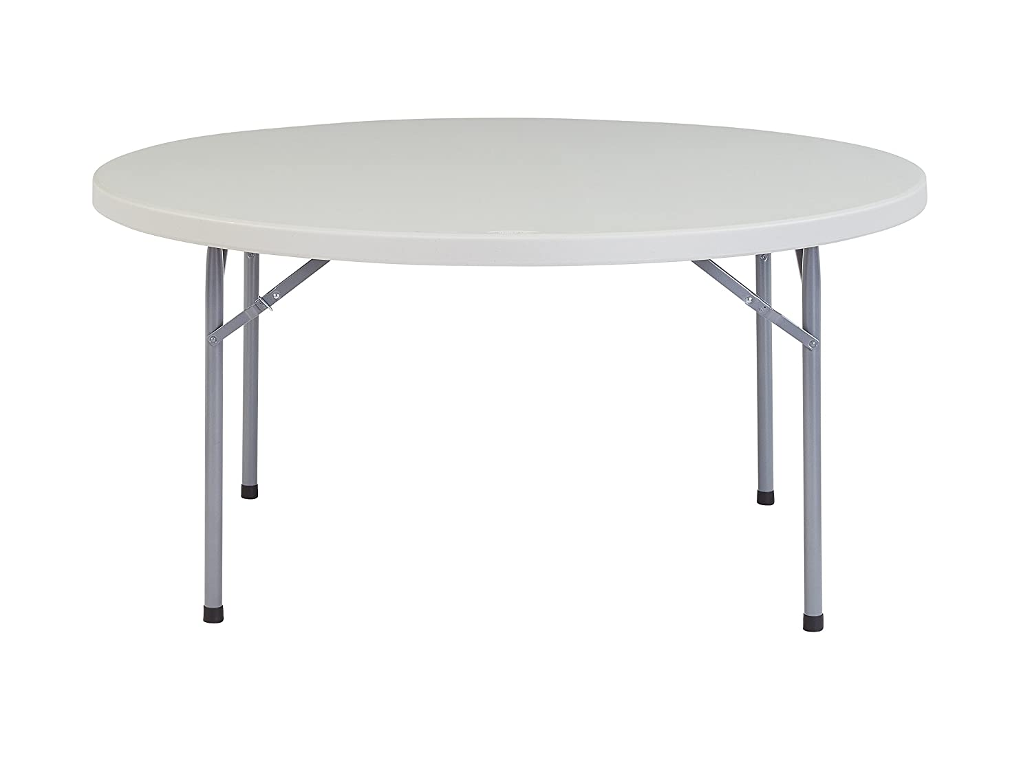 Round Folding Table, 60 Dia. 29-1 2 H, Light Spotted Gray