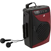 GPX Portable Cassette Player, 3.54 x 1.57 x 4.72 Inches, Requires 2 AA Batteries - Not Included, Red/Black (CAS337B)