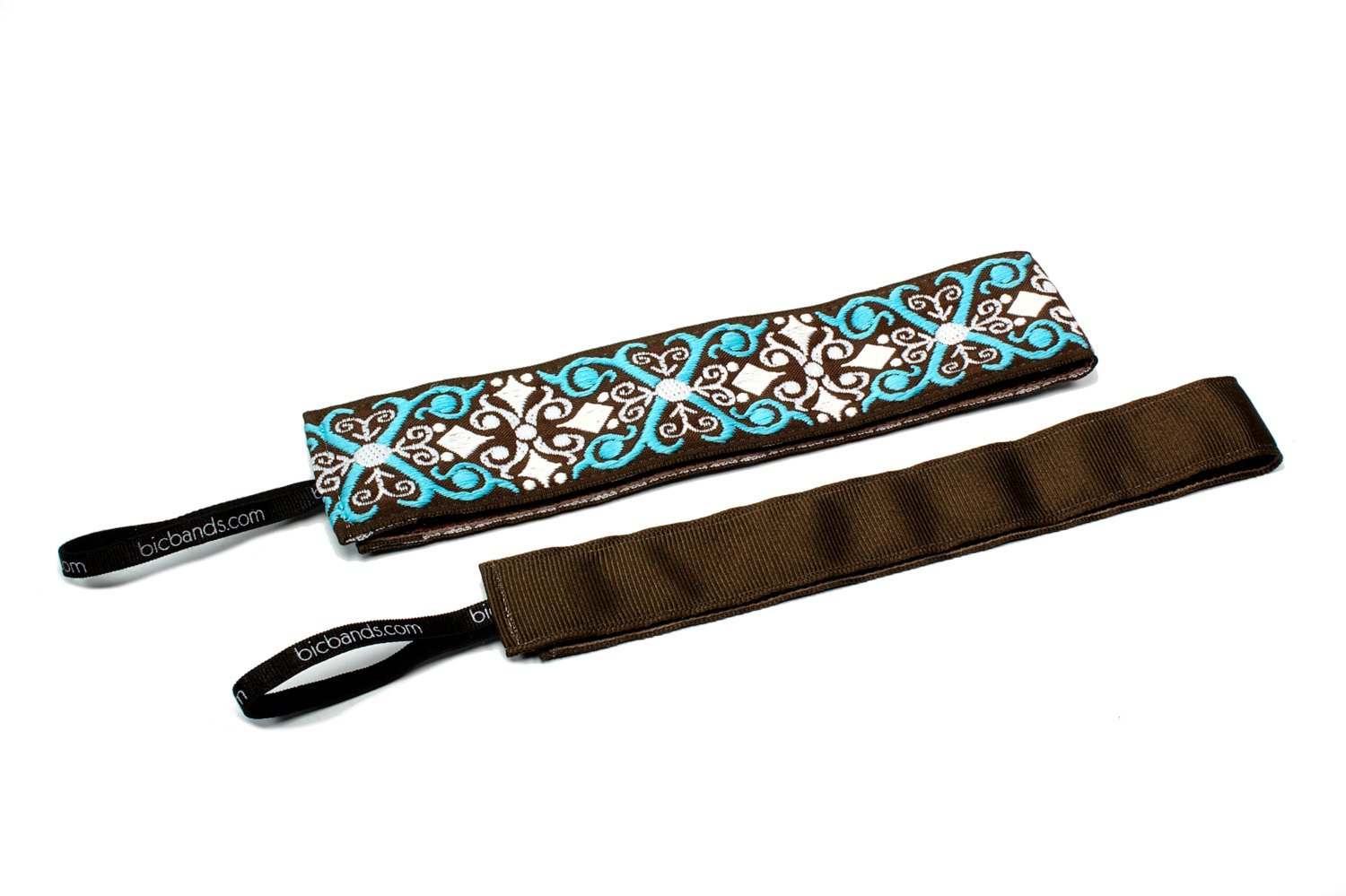 Two Pack Thin Scrolling Along Brown Blue & Thin Solid Brown NonSlip Headband BIC Bands Women's Non Slip 2 pack