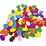 MagiDeal 200 Pezzi Multicolore di Legno Bottoni Stampato HANDMADE Bottoni 18x12mm Per Cucire Artigianali Maglia Bambole Vestiti Tende Decor