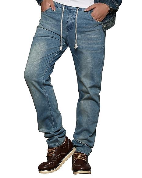 c4ef4ea4c1 HEMIKS Men's Comfy Stretch Drawstring Elastic Waist Regular Fit Denim Jeans  Pants Light Blue