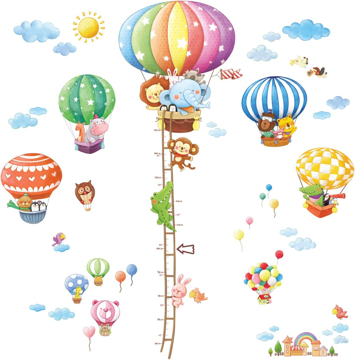 DECOWALL DA-1606N1406B Animal Hot Air Balloons Height Chart Kids Wall Stickers Wall Decals Peel and Stick Removable Wall Stickers for Kids Nursery Bedroom Living Room décor
