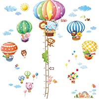 Decowall Animal Hot Air Balloon Height Chart Kids Wall Decals Wall Stickers Peel and Stick Removable Wall Stickers for Kids Nursery Bedroom Living Room(1606+1406A/B 1506C) 1606N1406B Multi