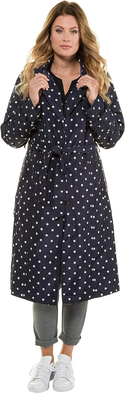 Ulla Popken Womens Plus Size Polka Dot Belted Lined Trench Coat 720035