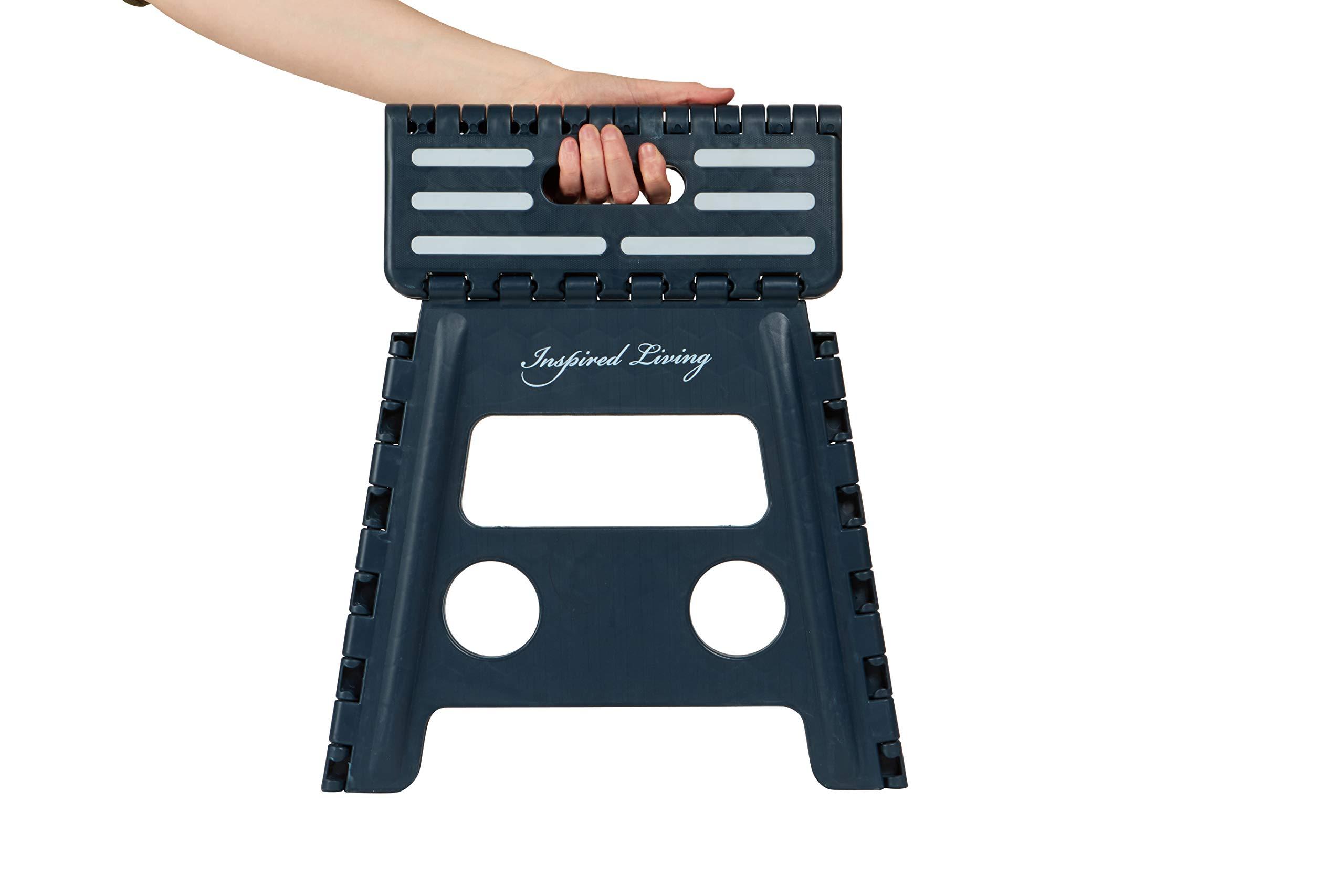 Inspired Living Folding Step Stool Heavy Duty, 13″ High, NAVY ONYX