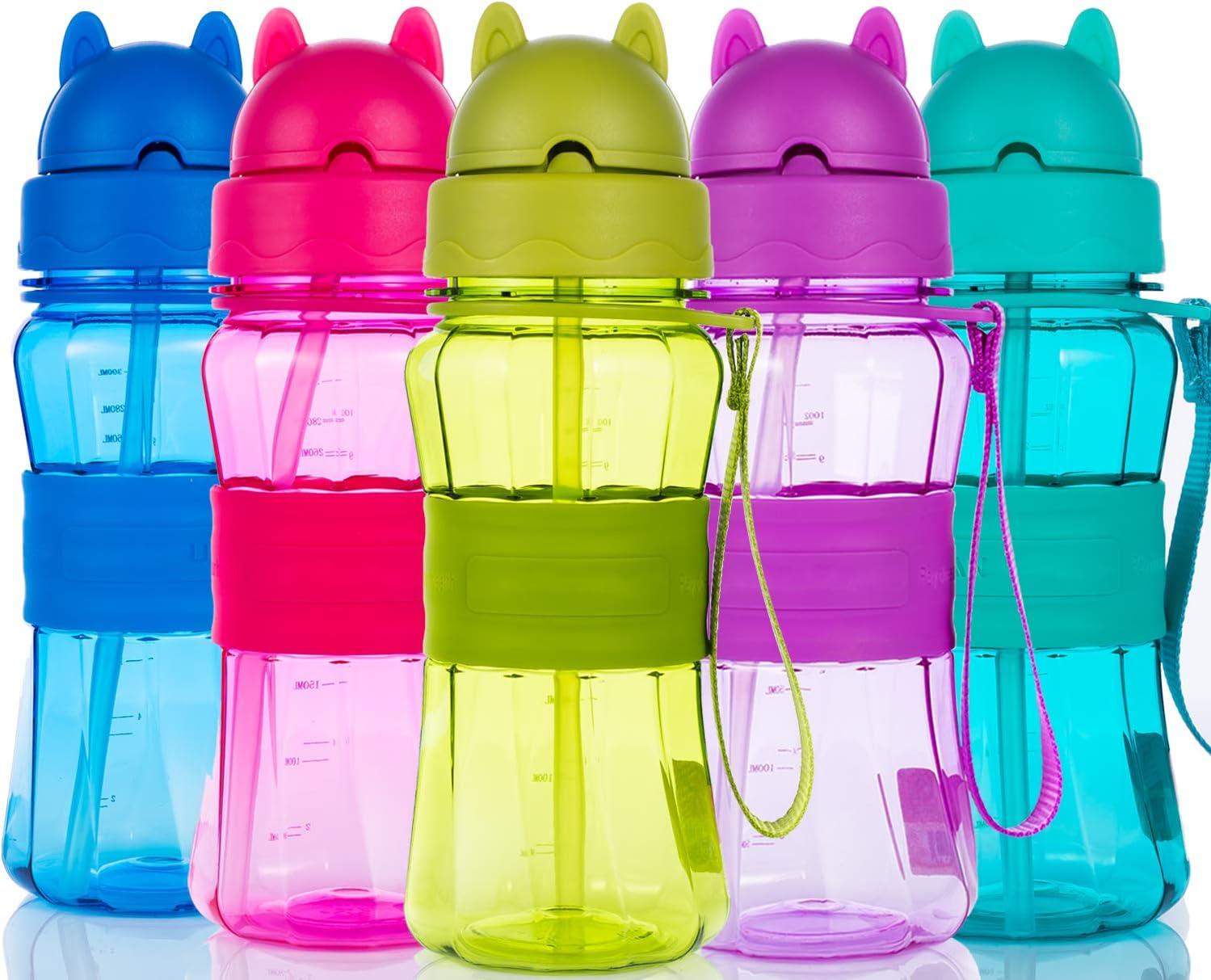 Botella de Agua Niños y Niñas Sin BPA Tritan Botella de Agua Deporte con Pajita y Correa para Infantil, Escuela, Corrida, Senderismo y Actividades al Aire