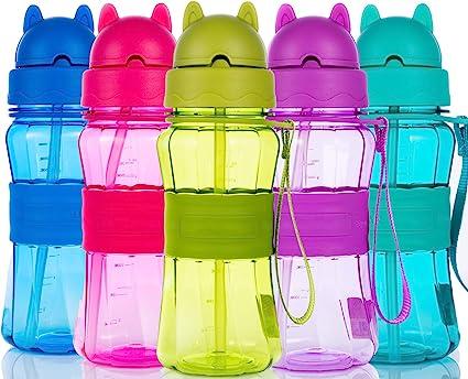 Botella de Agua Niños y Niñas 400 ml Sin BPA Botella de Agua Deporte con Pajita y correa para Infantil, Escuela, Corrida, Senderismo y Actividades al Aire(Púrpura): Amazon.es: Bricolaje y herramientas