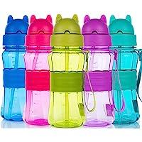 Botella de Agua Niños y Niñas Sin BPA Tritan Botella de Agua Deporte con Pajita y Correa para Infantil, Escuela, Corrida…