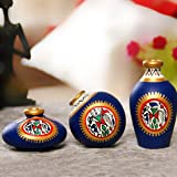ExclusiveLane Terracotta Warli Handpainted Pots, 3-Pieces, Blue