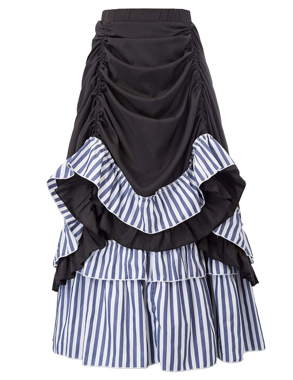 Steampunk-Victorian-Dame-Costume BLACK /& WHITE STRIPE PETTICOAT All Sizes