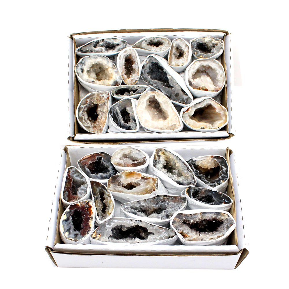 Rock Paradise Natural Geode Half Agate Druzy From Brazil 1.5-2 lbs Full Box Approx. 10-15 pieces Exclusive Item Two Styles - COA (Style A) by Rock Paradise