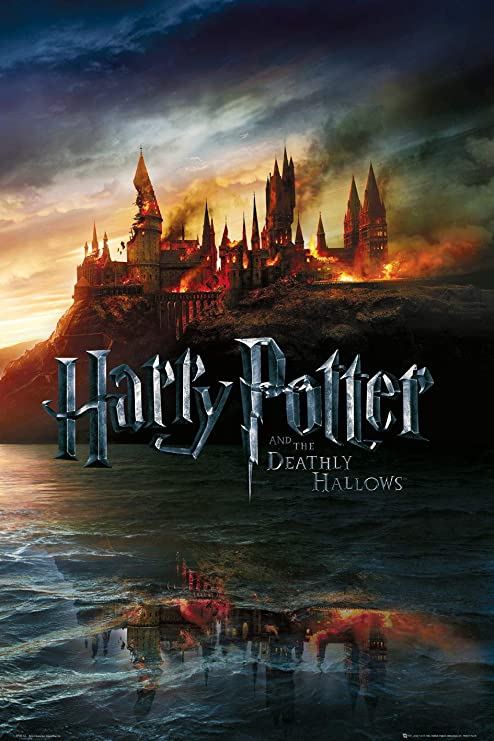 Amazon Com Harry Potter And The Deathly Hallows Movie Poster Advance Style Hogwarts On Fire Size 24 Inches X 36 Inches Prints Posters Prints