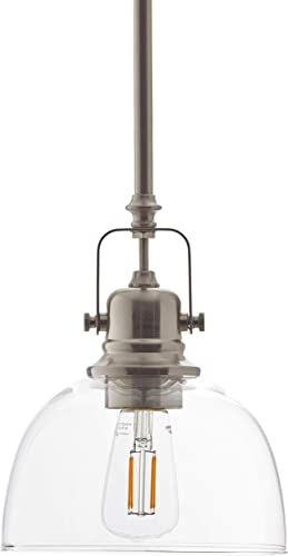 Amazon Brand Stone Beam Vintage Ceiling Pendant Lighting Fixture With Light Bulb And Clear Glass Shade – 7 x 7 x 17.25 Inches, 11.75 – 59.25 Inch Cord, Brush nickle