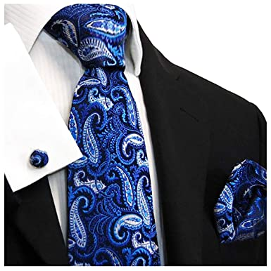 Blue Pocket Square and Cufflinks Extra Long Silk Tie