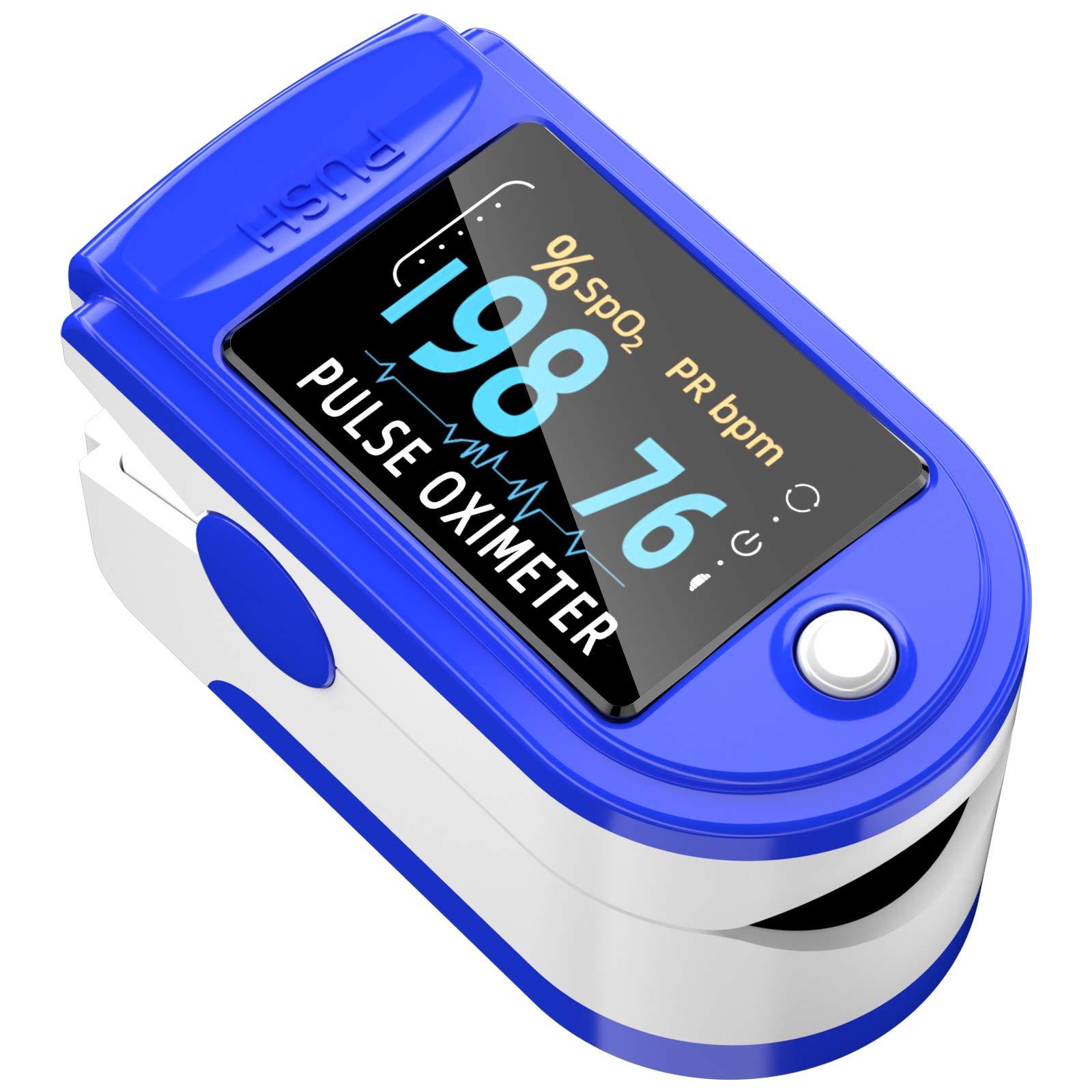Pulse Oximeter Fingertip, Blood Oxygen Saturation Monitor Fingertip, Blood Oxygen Meter Finger Oximeter Finger with Pulse, O2 Monitor Finger for Oxygen