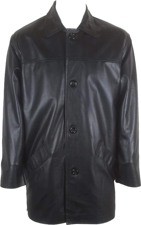 UNICORN Hombres Genuino real cuero chaqueta Estilo clásico Abrigo Negro #AE