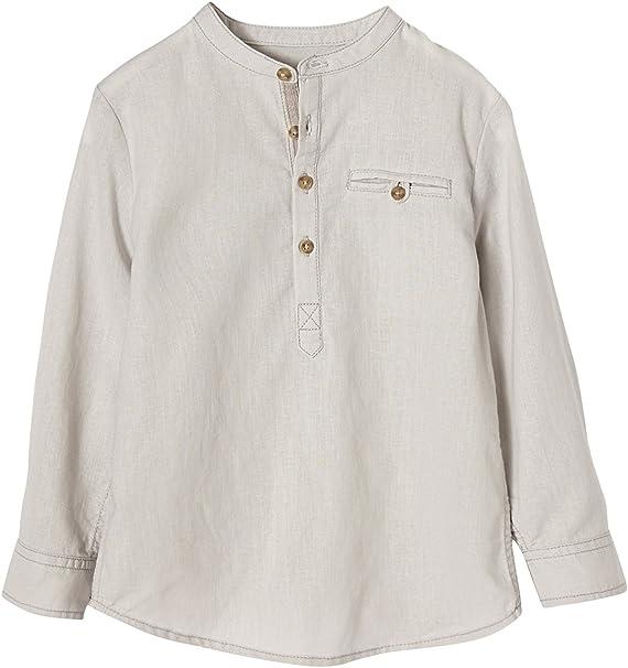 VERTBAUDET Camisa niño Cuello Mao de Lino y algodón Gris Claro Liso 2A: Amazon.es: Ropa y accesorios