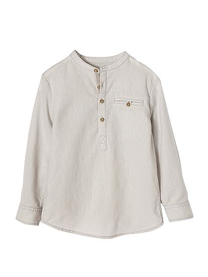 VERTBAUDET Camisa niño Cuello Mao de Lino y algodón