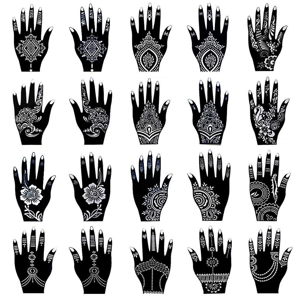 Xmasir New Design Henna Tattoo Stencil/Templates Temporary Tattoo Kit,Indian Arabian Self Adhesive Tattoo Sticker for Hand Body Paint (Pack of 90 Sheets)