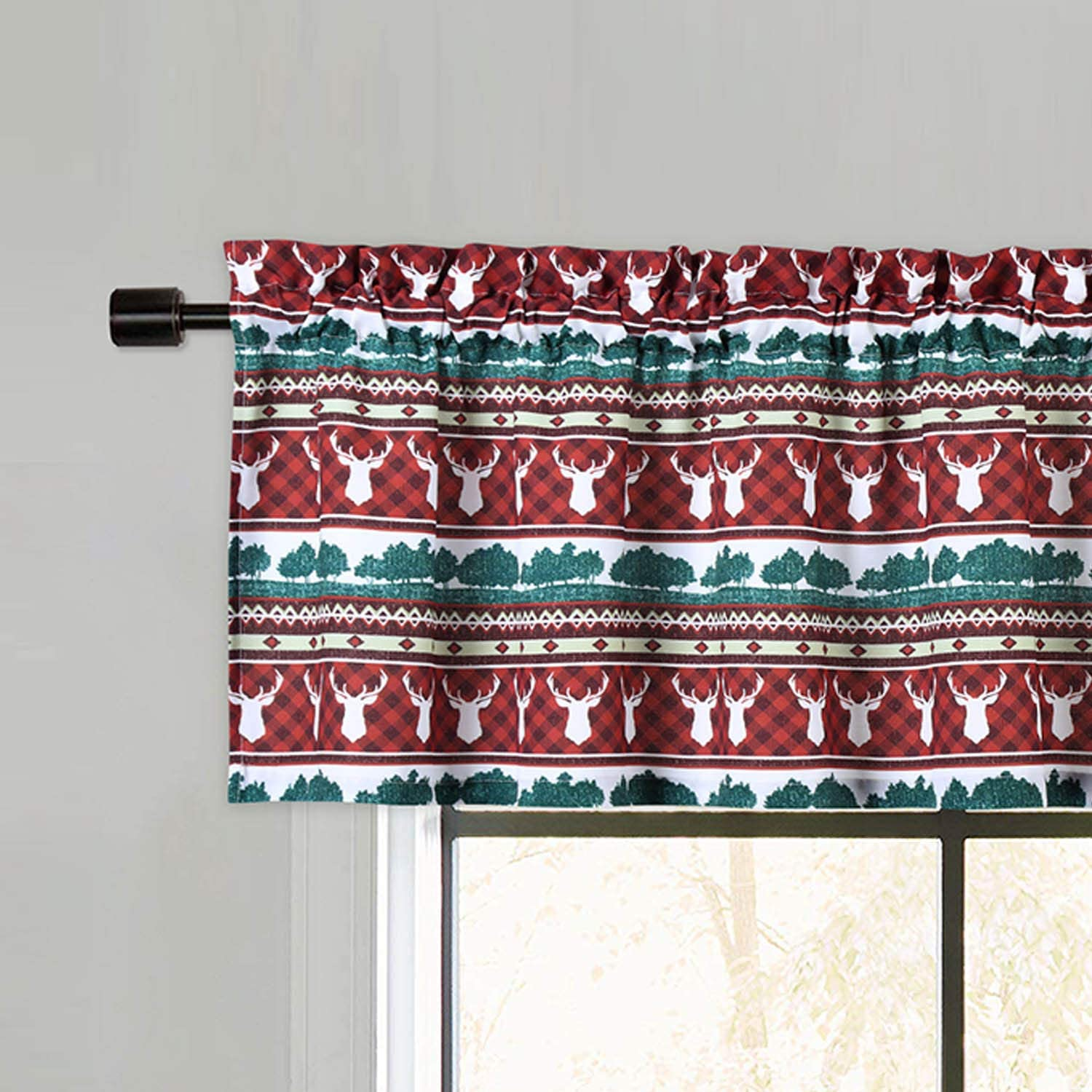 CAROMIO Valance Curtains for Kitchen, Farmhouse Christmas Home Decor Valances for Kitchen Cafe Bathroom Windows, Spice Brown, 55x15 Inch