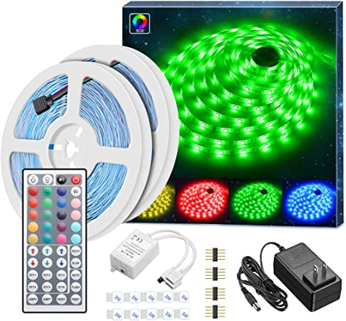 Minger Led Strip Lights Kit 32 8ft Rgb Light Strip With Remote Controller Box And Support Clips Ideal For Room Bedroom Home Kitchen Cabinet