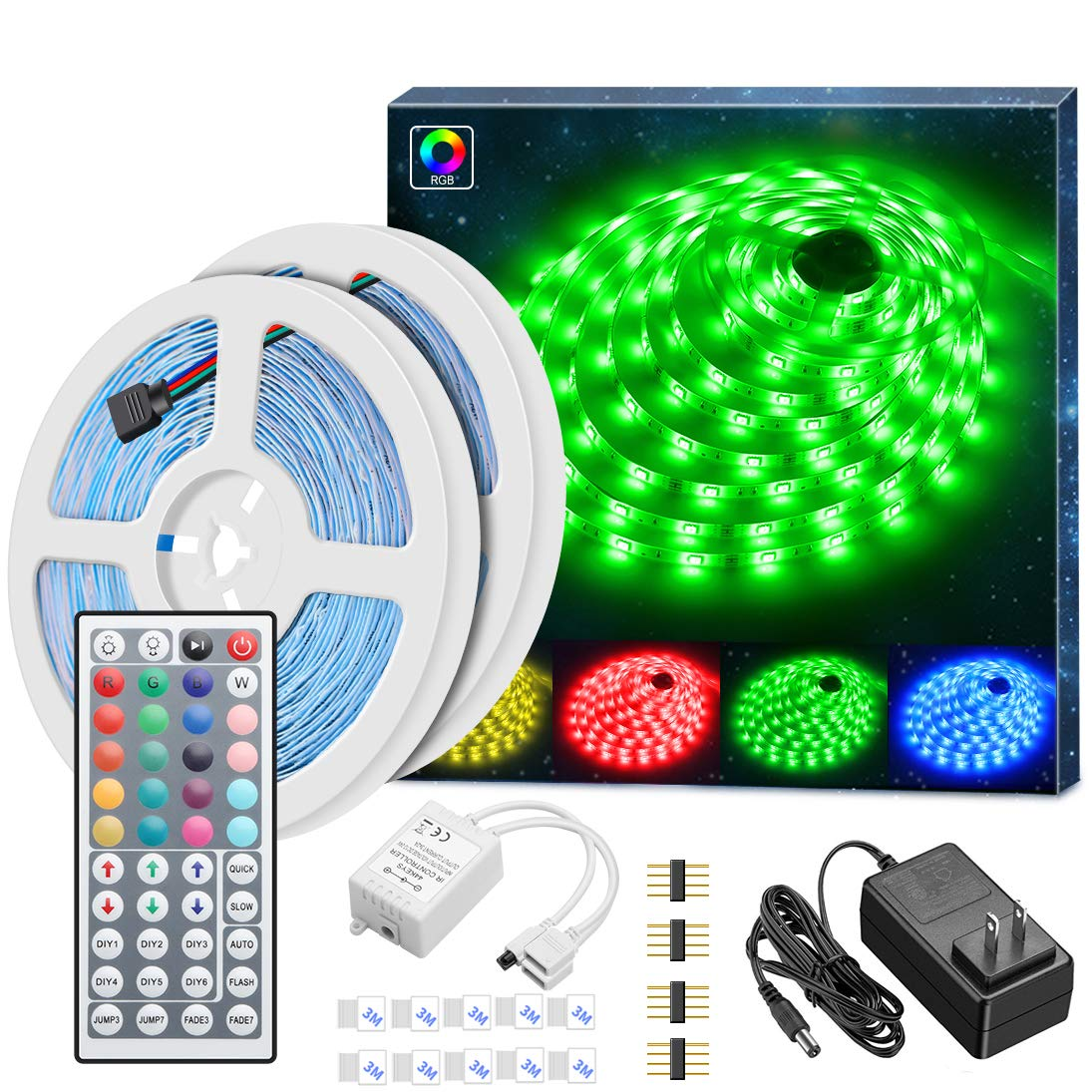MINGER Led Strip Lights Kit, 32.8Ft RGB Light Strip with Remote, Controller Box and Support Clips Ideal for Room, Bedroom, Home, Kitchen Cabinet, Party Decoration 12V/3A Power Supply, Non-Waterproof
