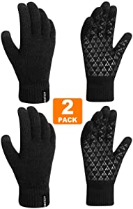 Winter Gloves for Women,(2 PACK) Knit Touch Screen Gloves,Anti Slip Silicone Gel,Thermal Wool Linning Gloves