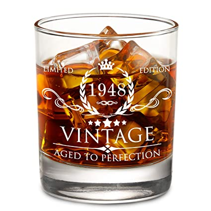 1948 70th Birthday Gifts For Men And Women Whiskey Glass Vintage Funny Anniversary Gift Ideas
