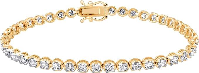 Huangyong Crystal Tennis Bracelet Women 3 Row Crystal Tennis Adjustable Bracelet Elegant Jewelry Gift,Golden