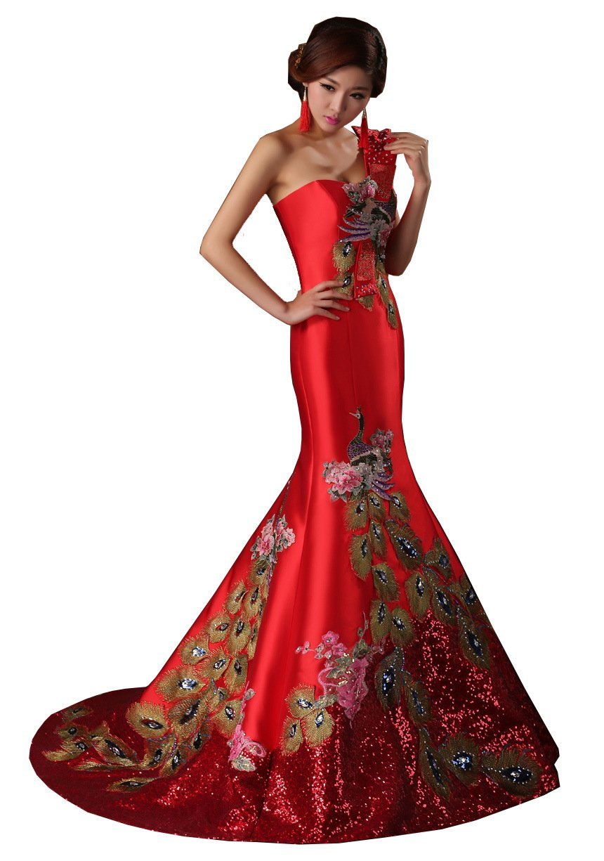 Amiveil Red Long Chinese Style Wedding Dress Cheongsam Sweetheart Formal Bride Gwons