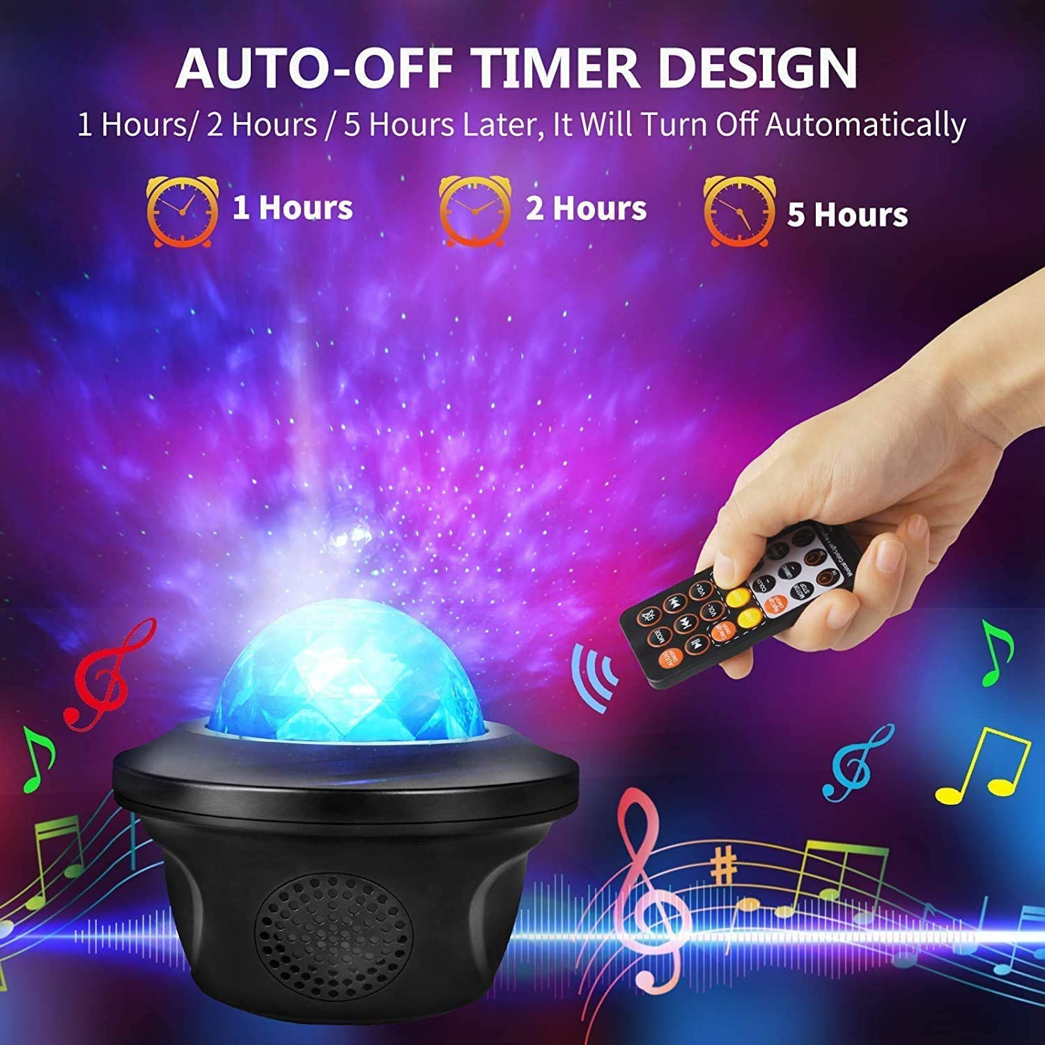 Star Projector Starry Galaxy Projector with Color Changing Bluetooth Music Remote Control USB Powered and Timer Dimmable Starry Music Lamp for Kids Room Bedroom Party Home Theater Lighting