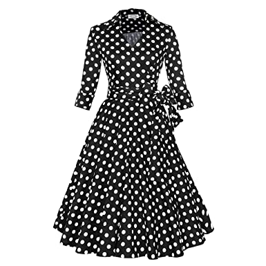 Babyonline® Damen 3/4 Ärmel Elegant Retro Cocktailkleid 1950er Jahre ...