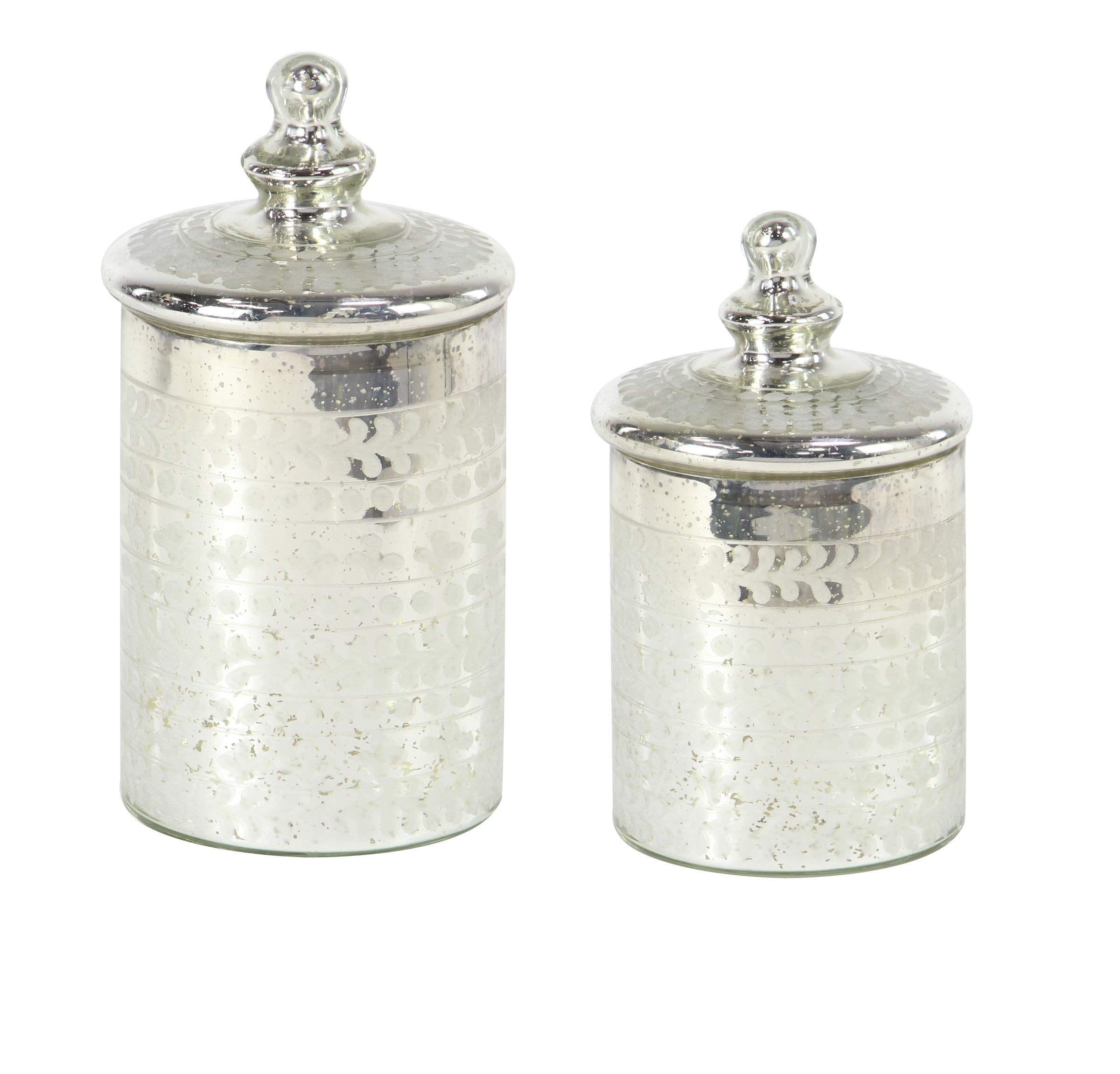 Deco 79 24720 Glam Glass Canisters, 7'' W x 12'' H, Silver