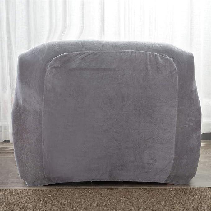 Aisaving Funda de sofá Gruesa de Terciopelo 1 2 3 4 plazas Funda de sofá elástica Antideslizante para Silla de Paseo o sofá, Gris Claro, 1 ...