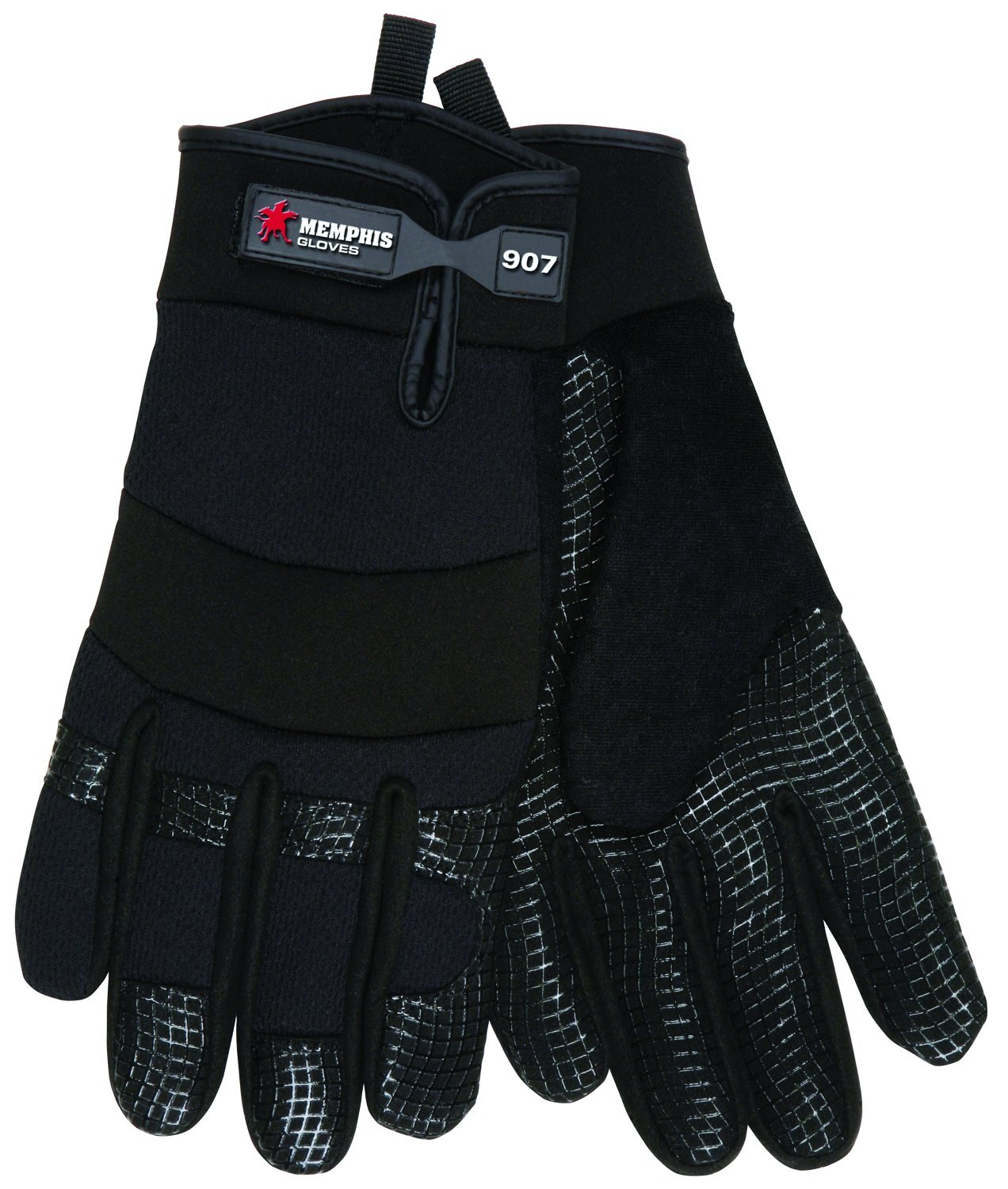 MCR Safety 907L Memphis Synthetic Palm Multi-Task Gloves with Adjustable Wrist Closure, Black, Large, 1-Pair