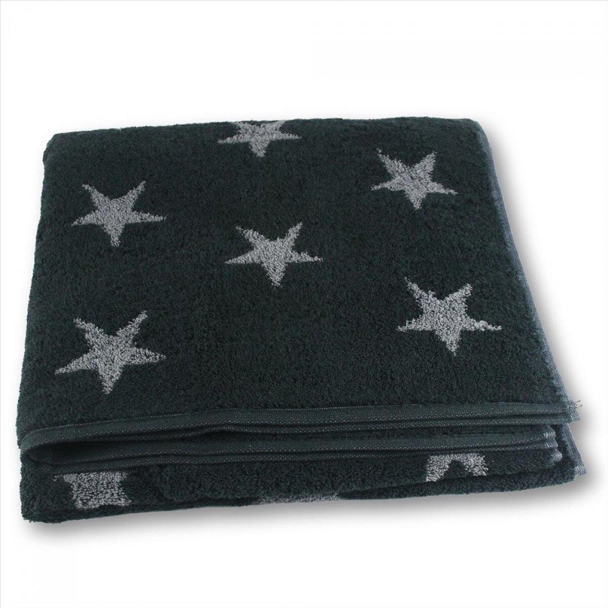 Cawö Hand Towel Stars Charcoal, 100% Cotton, black, 50 x 100 cm