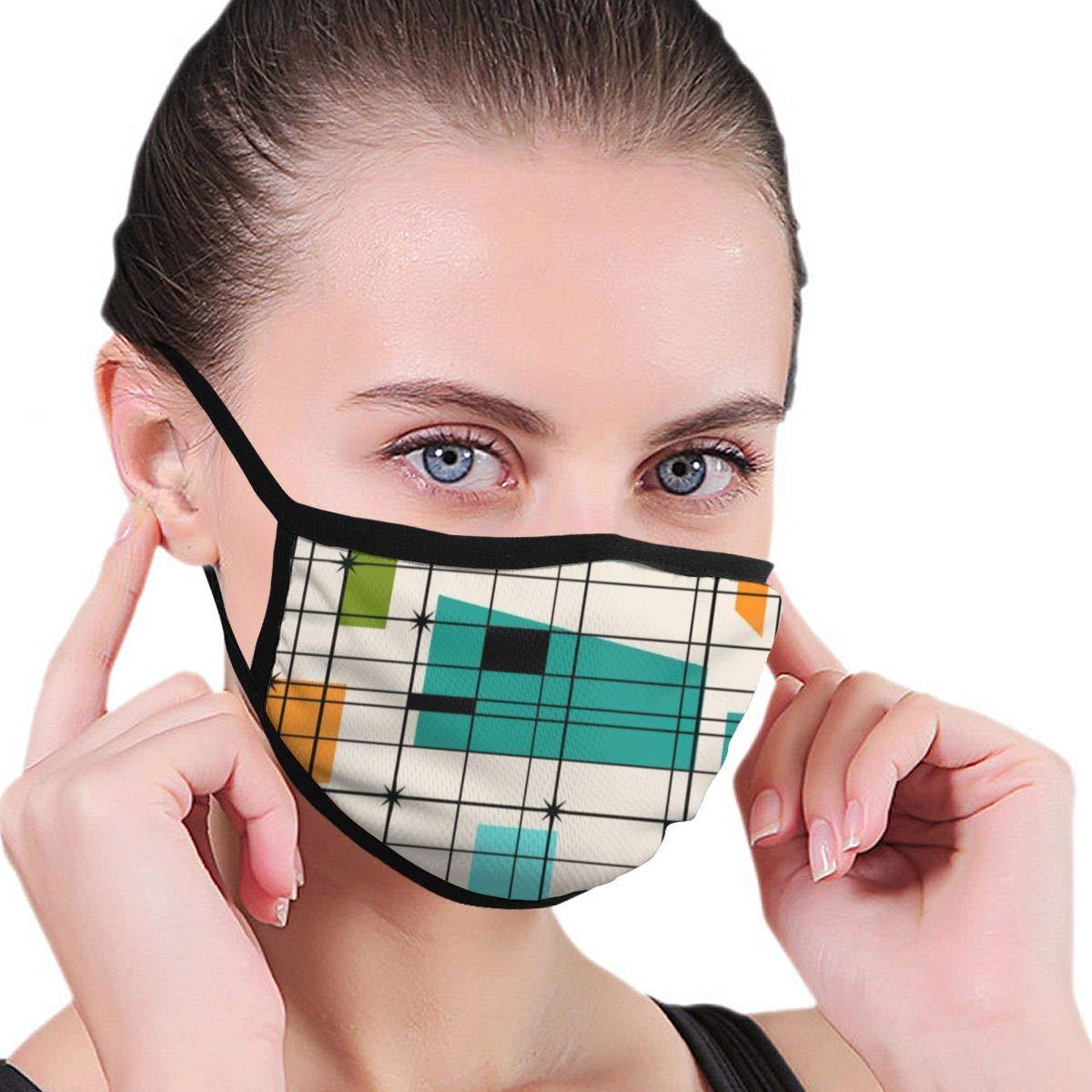 Dutars Máscara de protección para la boca, diseño retro de rejillas y estallidos, máscara antipolvo