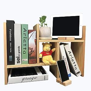Desk Shelf Desktop Bookshelf Desktop Bookcase Office Storage Rack Adjustable Desktop Shelf with Free Style Ingenious Design 100% Natural Wood Stand