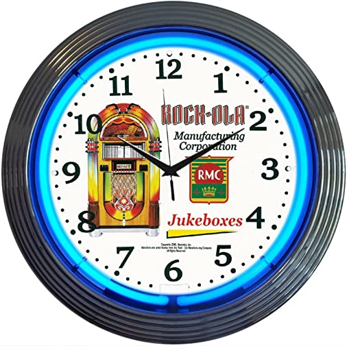 Neonetics Retro Rock-Ola Blue Jukebox Neon Wall Clock, 15-Inch