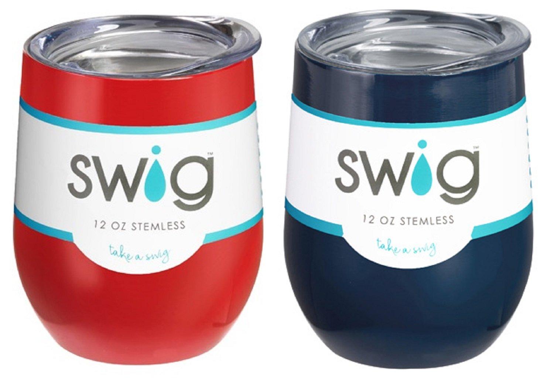 Occasionally Made Swigワインカップ B074F4JFTX Red & Navy Red & Navy