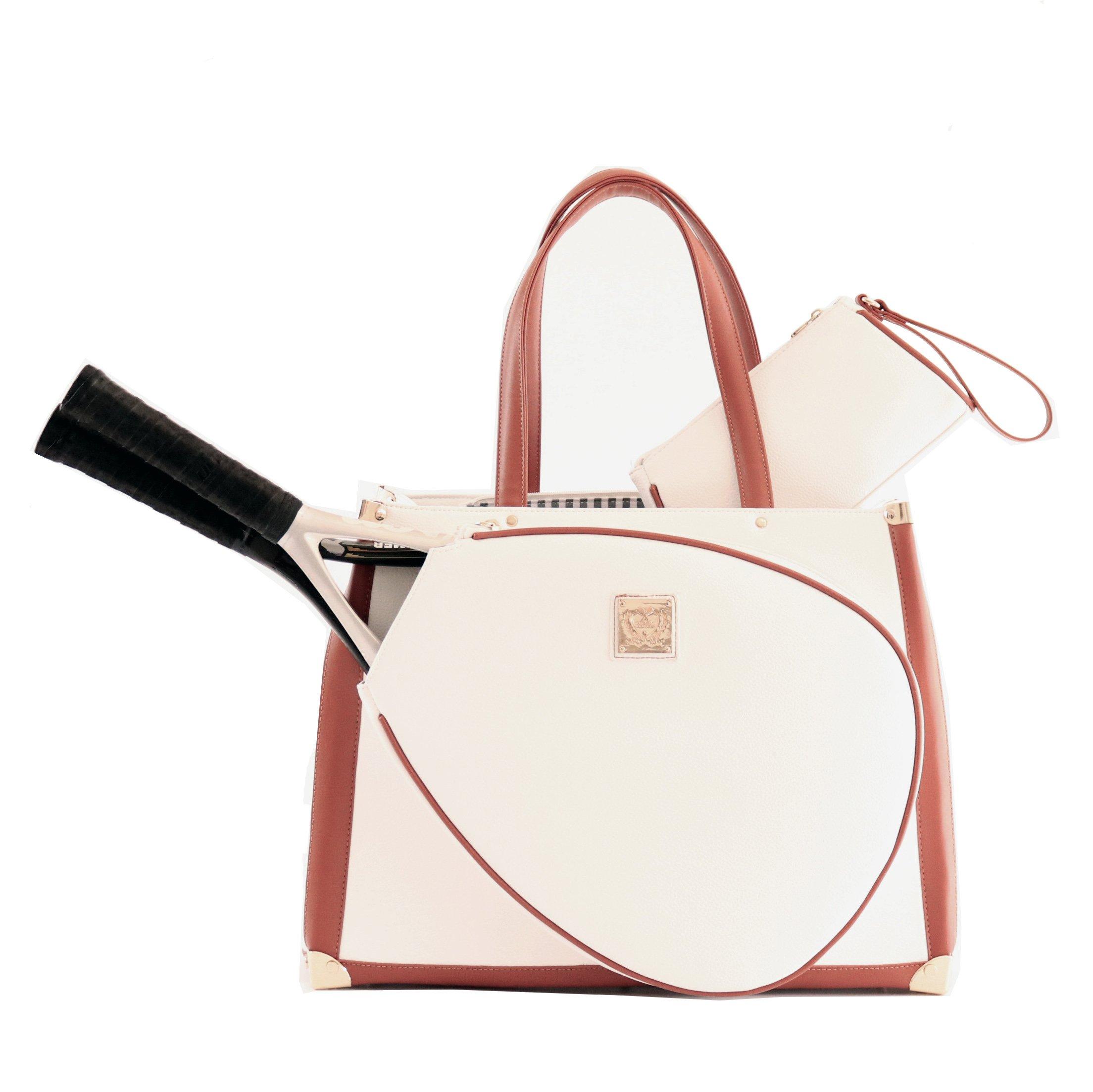 Vintage Karisa White Pebble Tennis Bag