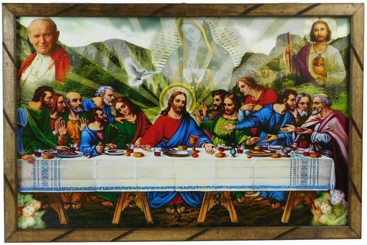 36 X24 Cuadro La Ultima Cena San Judas El Papa Marco De Madera Rustico Para Colgar 2436r Hecho Mexico Posters Prints