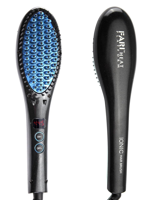 FARI Hair Straightener Brush,Anion Instant Magic Silky Straight Hair Styling, Anti Scald Anti Static Ceramic Heating Detangling Hair (Black) B06XCGL8F7