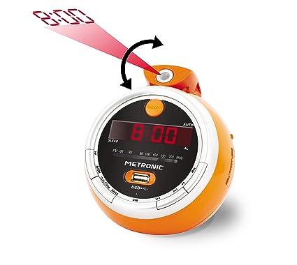 METRONIC 477023 - Radio Despertador Proyector Juicy, con Puerto ...