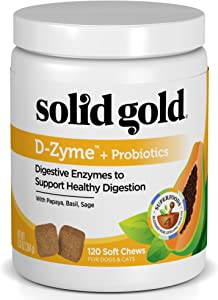 Solid Gold - D-Zyme Probiotics Chews for Dogs & Cats - Natural Digestive Enzymes with Prebiotics for Healthy Bowel Function - Supports Upset & Sensitive Stomachs