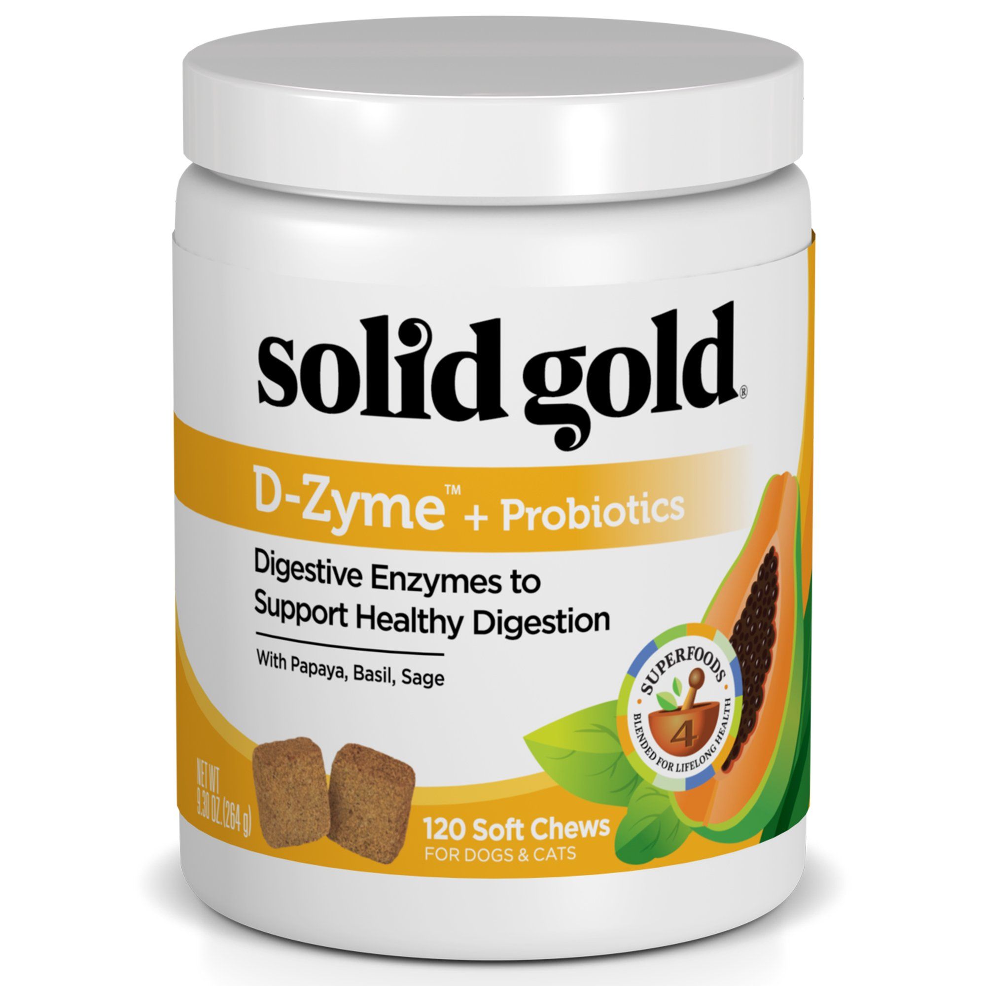 Solid Gold Digestive Enzyme Supplement for Healthy Digestion in Dogs & Cats; D-Zyme, Natural, Grain-Free Supplement Chews (120ct.) with Probiotics & Superfoods