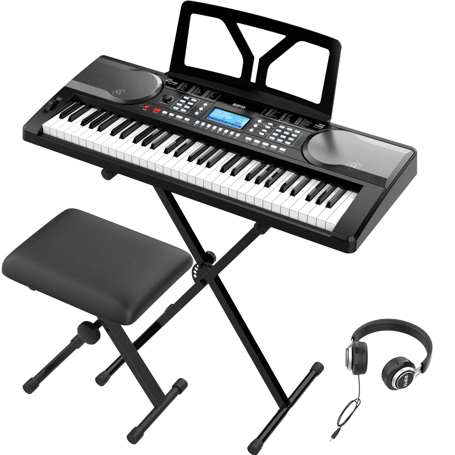 RIF6 Electric 61 Key Piano Keyboard - with Over Ear Headphones, Music Stand, Digital LCD Display, Teaching Modes and Adjustable Stool - Electronic Musical Instruments Starter Set for Kids and Adults by RIF6