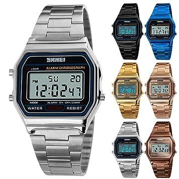 Leyeet Luxury Business Watch 30M Reloj Deportivo de Acero Inoxidable Impermeable Reloj Digital Reloj de Pulsera (Color : Silver): Amazon.es: Hogar